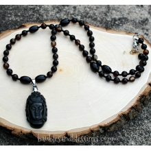 Quan Yin Prayer Beads with Black Agate & Obsidian