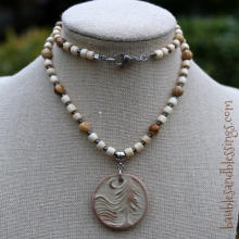 Tree Necklace with Picture Jasper, Wood, Hemalyke & Focal by Beadfreaky
