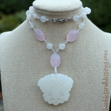 Butterfly Necklace with White Jade & Rose Quartz