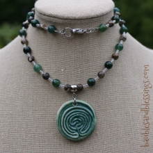 Labyrinth Necklace with Moss Agate, Turritella Agate & Focal by Beadfreaky