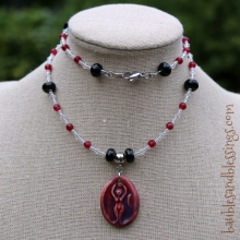 Goddess Necklace with Red Agate, Onyx, Glass Crystals & Focal by Beadfreaky