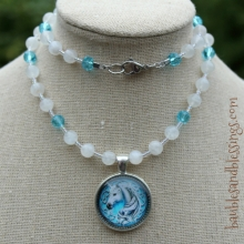 Unicorn Necklace with Moonstone & Glass Crystals