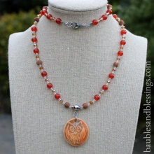 Owl Necklace with Carnelian, Rudraksha Seeds, Glass Crystals & Focal by Beadfreaky