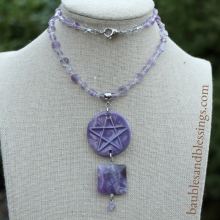 Pentagram Necklace with Amethyst & Ceramic Focal by Beadfreaky