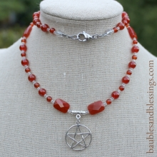 Pentagram Prayer Beads with Sterling Silver Focal