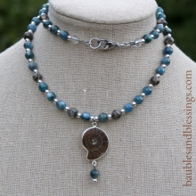 Ammonite Necklace with Turritella Agate, Blue Kyanite & Sterling Silver