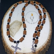 Wood, Sterling & Onyx Necklace with Sterling Brighid's Cross