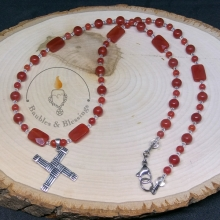 Carnelian Prayer Beads with Sterling Brighid's Cross