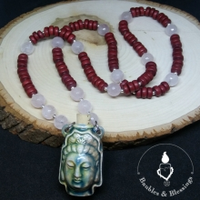 Quan Yin Bottle Necklace with Rose Quartz, Wood & Sterling Silver
