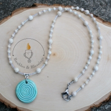 Spiral Necklace with Riverstone & Focal by Beadfreaky